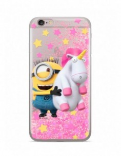Funda Minion y Unicornio Purpurina Rosa para Apple iPhone 7 Plus