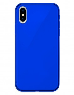 Funda Gel Silicona Liso Azul para Apple iPhone X