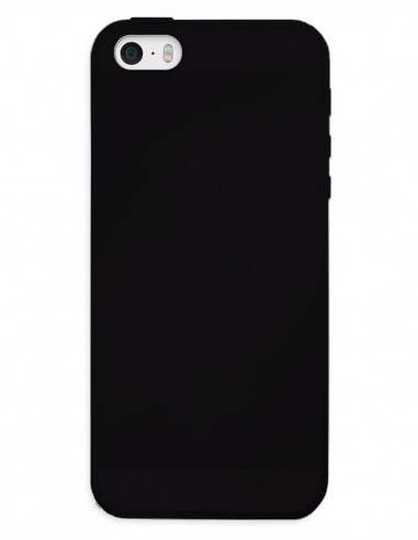Funda Gel Silicona Liso Negro para Apple iPhone SE