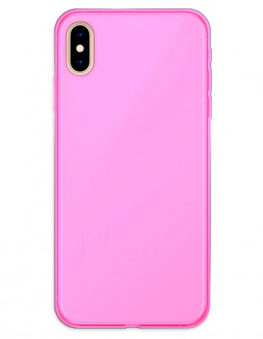 Funda Gel Silicona Liso Rosa para Apple iPhone X