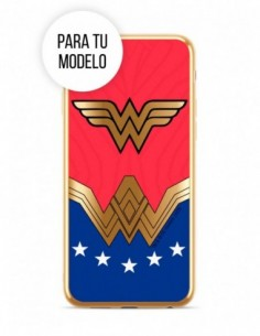 Funda DC Comics Wonderwoman Silicona Luxury logo y borde dorado para Apple iPhone XS Max